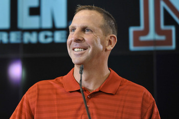 LINCOLN, NE. - JUNE 11:  University of Nebraska football coach Bo Pelini jokes with members of the media at a press conference announcing Nebraska accepting an invitation to join the Big Ten Conference June 11, 2010  in Lincoln, Nebraska.  The university