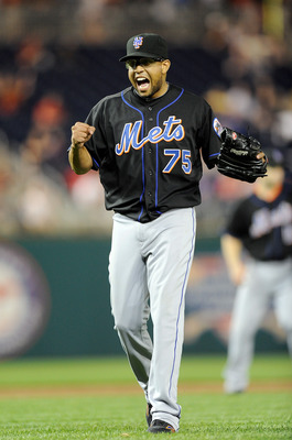 WASHINGTON, DC - APRIL 26:  Francisco Rodriguez #75 of the New York Mets celebrates after a 6-4 victory against the Washington Nationals at Nationals Park on April 26, 2011 in Washington, DC.   (Photo by Greg Fiume/Getty Images)