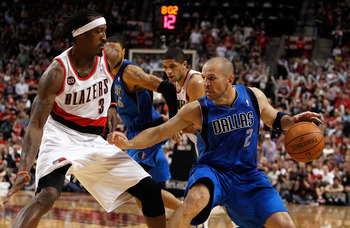 PORTLAND, OR - APRIL 23:  Gerald Wallace #3 of the Portland Trail Blazers defends Jason Kidd #2 of the Dallas Mavericks in Game Four of the Western Conference Quarterfinals in the 2011 NBA Playoffs on April 23, 2011 at the Rose Garden in Portland, Oregon.