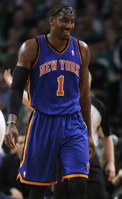 BOSTON, MA - APRIL 19:  Amare Stoudemire #1 of the New York Knicks walks out on the court after a time out in the first quarter against the Boston Celtics  in Game Two of the Eastern Conference Quarterfinals in the 2011 NBA Playoffs on April 19, 2011 at t