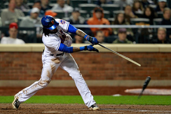 NEW YORK, NY - MAY 03:  Jose Reyes #7 of the New York Mets breaks his bat on a single hit in the sixth inning to score Jason Pridie #20 against the San Francisco Giants at Citi Field on May 3, 2011 in the Flushing neighborhood of the Queens borough of New