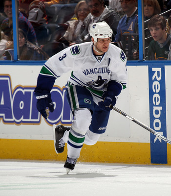 ATLANTA, GA - MARCH 25:  Kevin Bieksa #3 of the Vancouver Canucks skates against the Atlanta Thrashers at the Philips Arena on March 25, 2011 in Atlanta, Georgia.  (Photo by Bruce Bennett/Getty Images)