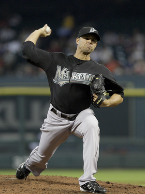 HOUSTON, TX - APRIL 09 : Pitcher Javier Vasquez , #23 of the Florida Marlins pitches against  the Houston Astros in a MLB game on April 9, 2011 at Minute Maid Park in Houston, Texas. The Marlins won 4 to 3. (Photo by Thomas B. Shea / Getty Images)