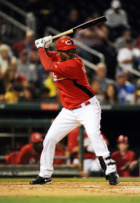 GOODYEAR, AZ - MARCH 03:  Edgar Renteria #16 of the Cincinnati Reds gets ready in the batters box against the Los Angeles Dodgers at Goodyear Ballpark on March 3, 2011 in Goodyear, Arizona.  (Photo by Norm Hall/Getty Images)