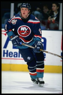6 Feb 1996:  Defenseman Bryan McCabe of the New York Islanders moves down the ice during a game against the New Jersey Devils at the Continental Airlines Arena in East Rutherford, New Jersey.  The Devils won the game, 4-1. Mandatory Credit: Al Bello  /All