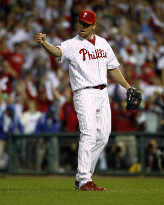 PHILADELPHIA - OCTOBER 08:  Brad Lidge #54 of the Philadelphia Phillies celebrates the win over the Cincinnati Reds in Game 2 of the NLDS at Citizens Bank Park on October 8, 2010 in Philadelphia, Pennsylvania.  (Photo by Jeff Zelevansky/Getty Images)