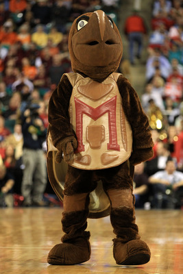 GREENSBORO, NC - MARCH 10:  Testudo, the mascot for the Maryland Terrapins, is seen during the first half of the game against the North Carolina State Wolfpack in the first round of the 2011 ACC men's basketball tournament at the Greensboro Coliseum on Ma