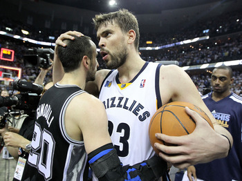 MEMPHIS, TN - APRIL 29:  Marc Gasol #33 of the Memphis Grizzlies hugs Manu Ginobili #20 of the San Antonio Spurs after the Grizzlies beat the San Antonio Spurs 99-91 in Game Six of the Western Conference Quarterfinals in the 2011 NBA Playoffs at FedExForu