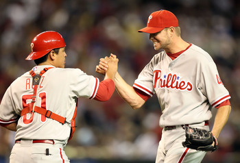 PHOENIX - APRIL 24:  Relief pitcher Ryan Madson #46 of the Philadelphia Phillies celebrates with catcher  Carlos Ruiz #51 after defeating the Arizona Diamondbacks in the Major League Baseball game at Chase Field on April 24, 2010 in Phoenix, Arizona.  The