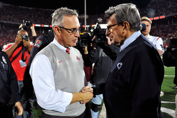 COLUMBUS, OH - NOVEMBER 13:  Head Coach Jim Tressel of the Ohio State Buckeyes greets Head Coach Joe Paterno of the Penn State Nittany Lions at midfield following the Buckeyes' 38-14 win over the Nittany Lions at Ohio Stadium on November 13, 2010 in Colum