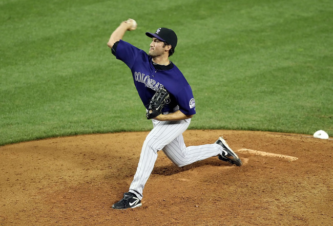 PHOENIX, AZ - MAY 04:  Relief pitcher Huston Street #16 of the Colorado Rockies pitches against the Arizona Diamondbacks during the Major League Baseball game at Chase Field on May 4, 2011 in Phoenix, Arizona. The Rockies defeated the Diamondbacks 6-4.  (