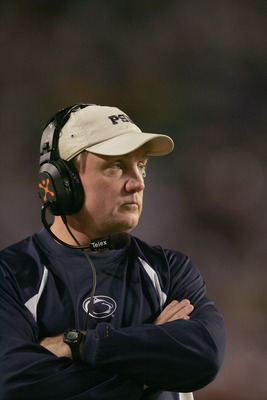 MIAMI GARDENS, FL - JANUARY 3:  Defensive coach Tom Bradley of the Penn State Nittany Lions looks on from the sidelines during the 72nd Fed Ex Orange Bowl against the Florida State Seminoles at Dolphins Stadium on January 3, 2005 in Miami Gardens, Florida