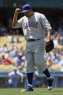 LOS ANGELES, CA - MAY 04:  Pitcher Carlos Zambrano #38 of the Chicago Cubs pumps his fist after Matt Kemp (not pictured) of the Los Angeles Dodgers grounded into a double play to end the sixth inning at Dodger Stadium on May 4, 2011 in Los Angeles, Califo