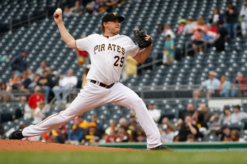 PITTSBURGH - APRIL 24:  Kevin Correia #29 of the Pittsburgh Pirates pitches against the Washington Nationals during the game on April 24, 2011 at PNC Park in Pittsburgh, Pennsylvania.  (Photo by Jared Wickerham/Getty Images)
