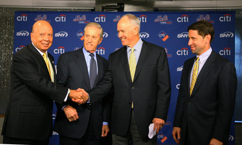 NEW YORK - OCTOBER 29:  (L - R) Saul Katz, CEO of the Mets, Fred Wilpon, president of the Mets, Sandy Alderson and Jeff Wilpon, chief operating officer of the Mets pose for a photo during Alderson's introduction as the general manager for the New York Met