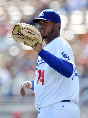 PHOENIX, AZ - FEBRUARY 27:  Kenley Jansen #74 of the Los Angeles Dodgers on the mound during spring training at Camelback Ranch on February 27, 2011 in Phoenix, Arizona.  (Photo by Harry How/Getty Images)
