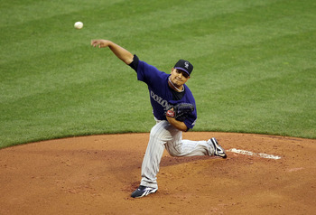PHOENIX, AZ - MAY 04:  Starting pitcher Jhoulys Chacin #45 of the Colorado Rockies pitches against the Arizona Diamondbacks during the Major League Baseball game at Chase Field on May 4, 2011 in Phoenix, Arizona.  (Photo by Christian Petersen/Getty Images