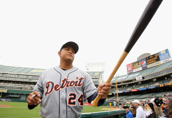 OAKLAND, CA - APRIL 17:  Miguel Cabrera #24 of the Detroit Tigers signs autographs before their game against the Oakland Athletics at Oakland-Alameda County Coliseum on April 17, 2011 in Oakland, California.  (Photo by Ezra Shaw/Getty Images)
