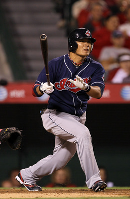 ANAHEIM, CA - SEPTEMBER 06:  Shin-Soo Choo #17 of the Cleveland Indians bats against the Los Angeles Angels of Anaheim on September 6, 2010 at Angel Stadium in Anaheim, California. The  Indians won 3-2.  (Photo by Stephen Dunn/Getty Images)