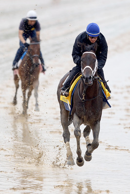 LOUISVILLE, KY - MAY 02:  Soldat (R) runs during the morning exercise session in preparation for the 137th Kentucky Derby at Churchill Downs on May 2, 2011 in Louisville, Kentucky.  (Photo by Matthew Stockman/Getty Images)