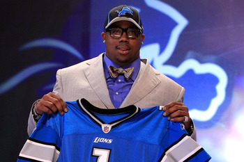 NEW YORK, NY - APRIL 28:  Nick Fairley, #13 overall pick by the Detriot Lions, holds up a jersey during the 2011 NFL Draft at Radio City Music Hall on April 28, 2011 in New York City.  (Photo by Chris Trotman/Getty Images)