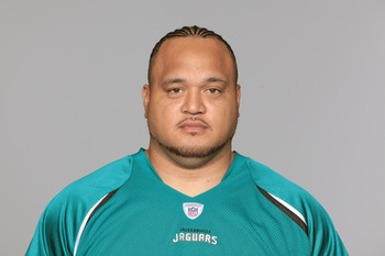 JACKSONVILLE, FL - CIRCA 2010:  In this handout photo provided by the NFL,  Vince Manuwai of the Jacksonville Jaguars poses for his 2010 NFL headshot circa 2010 in Jacksonville, Florida. (Photo by NFL via Getty Images)