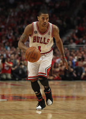 CHICAGO, IL - MAY 04: Derrick Rose #1 of the Chicago Bulls moves with the ball against the Atlanta Hawks in Game Two of the Eastern Conference Semifinals in the 2011 NBA Playoffs at the United Center on May 4, 2011 in Chicago, Illinois. The Bulls defeated