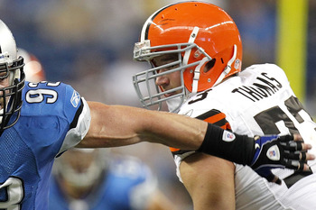 DETROIT - AUGUST 28: Kyle Vanden Bosch #93 of the Detroit Lions tries to get around Joe Thomas #73 during a preseason game on August 28, 2010 at Ford Field in Detroit, Michigan. (Photo by Gregory Shamus/Getty Images)