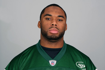 FLORHAM PARK, NJ - CIRCA 2010: In this handout image provided by the NFL, Vernon Gholston of the New York Jets poses for his 2010 NFL headshot circa 2010 in Florham Park, New Jersey. (Photo by NFL via Getty Images)