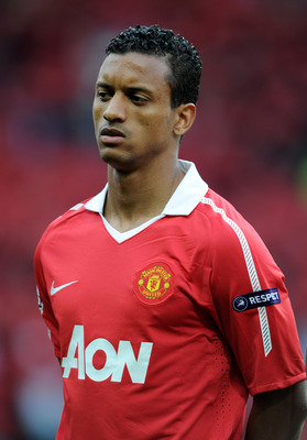 MANCHESTER, ENGLAND - MAY 04:  Nani of Manchester United lines up prior to the UEFA Champions League Semi Final second leg match between Manchester United and Schalke at Old Trafford on May 4, 2011 in Manchester, England.  (Photo by Michael Regan/Getty Im