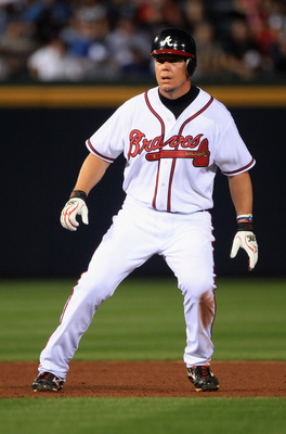 ATLANTA, GA - APRIL 08:  Chipper Jones #10 of the Atlanta Braves during their opening day game against the Philadephia Phillies at Turner Field on April 8, 2011 in Atlanta, Georgia.  (Photo by Streeter Lecka/Getty Images)