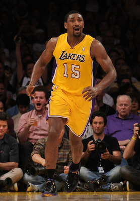 LOS ANGELES, CA - APRIL 26:  Ron Artest #15 of the Los Angeles Lakers reacts in the second half while taking on the New Orleans Hornets in Game Five of the Western Conference Quarterfinals in the 2011 NBA Playoffs on April 26, 2011 at Staples Center in Lo
