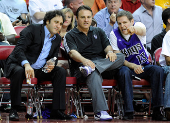 LAS VEGAS - OCTOBER 13:  (L-R) Brothers George Maloof, Gavin Maloof and Joe Maloof watch a preseason game between the Sacramento Kings and the Los Angeles Lakers at the Thomas & Mack Center October 13, 2010 in Las Vegas, Nevada. The Lakers won 98-95. NOTE