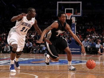 NEW YORK - MARCH 09: Marshon Brooks #2 of the Providence Friars handles the ball against Jeremy Hazell #21 of the Seton Hall Pirates during the first round game of the Big East Basketball Tournament at Madison Square Garden on March 9, 2010 in New York, N