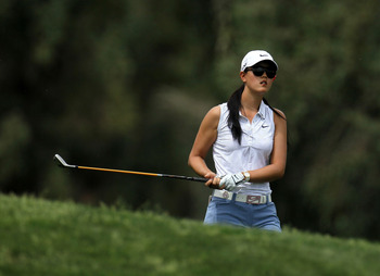 RANCHO MIRAGE, CA - APRIL 02:  Michelle Wie watches her second shot on the second hole during the third round of the Kraft Nabisco Championship at Mission Hills Country Club on April 2, 2011 in Rancho Mirage, California.  (Photo by Stephen Dunn/Getty Imag