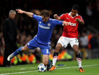 MANCHESTER, ENGLAND - APRIL 12:  Branislav Ivanovic of Chelsea competes with Nani of Manchester United during the UEFA Champions League Quarter Final second leg match between Manchester United and Chelsea at Old Trafford on April 12, 2011 in Manchester, E