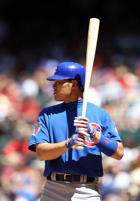 PHOENIX, AZ - MAY 01:  Kosuke Fukudome #1 of the Chicago Cubs bats against the Arizona Diamondbacks during the Major League Baseball game at Chase Field on May 1, 2011 in Phoenix, Arizona.  The Diamondbacks defeated the Cubs 4-3.  (Photo by Christian Pete