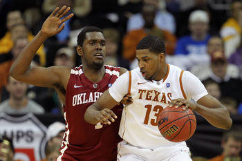 KANSAS CITY, MO - MARCH 10:  Tristan Thompson #13 of the Texas Longhorns drives with the ball against Andrew Fitzgerald #4 of the Oklahoma Sooners during their quarterfinal game in the 2011 Phillips 66 Big 12 Men's Basketball Tournament at Sprint Center o