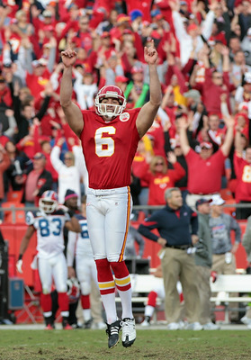KANSAS CITY, MO - OCTOBER 31:  Kicker Ryan Succop #6 of the Kansas City Chiefs celebrates after making a filed goal in overtime to win the game against the Buffalo Bills on October 31, 2010  at Arrowhead Stadium in Kansas City, Missouri.  (Photo by Jamie