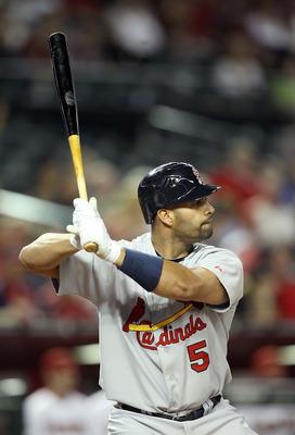 PHOENIX, AZ - APRIL 12:  Albert Pujols #5 of the St. Louis Cardinals at bat during the Major League Baseball game against the Arizona Diamondbacks at Chase Field on April 12, 2011 in Phoenix, Arizona. The Diamondbacks defeated the Cardinals 13-8.  (Photo