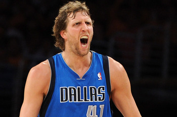 LOS ANGELES, CA - MAY 02:  Dirk Nowitzki #41 of the Dallas Mavericks reacts in the fourth quarter while taking on the Los Angeles Lakers in Game One of the Western Conference Semifinals in the 2011 NBA Playoffs at Staples Center on May 2, 2011 in Los Ange