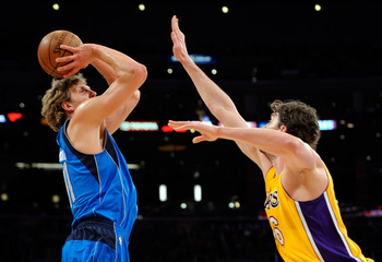 LOS ANGELES, CA - MAY 04:  Dirk Nowitzki #41 of the Dallas Mavericks shoots over Pau Gasol #16 of the Los Angeles Lakers in the first quarter in Game Two of the Western Conference Semifinals in the 2011 NBA Playoffs at Staples Center on May 4, 2011 in Los