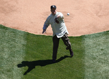CHICAGO - APRIL 7: Former Chicago White Sox player Billy Pierce throws out a ceremonial first pitch before the Opening Day game between the White Sox and the Kansas City Royals on April 7, 2009 at U.S. Cellular Field in Chicago, Illinois. (Photo by Jonath