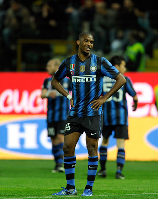 PARMA, ITALY - APRIL 16:  Samuel Eto'o of Inter Milan dejected during the Serie A match between Parma FC and FC Internazionale Milano at Stadio Ennio Tardini on April 16, 2011 in Parma, Italy.  (Photo by Claudio Villa/Getty Images)