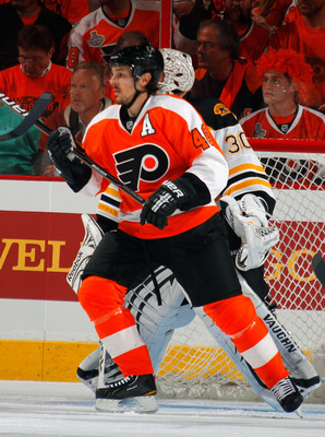 PHILADELPHIA, PA - MAY 02: Danny Briere #48 of the Philadelphia Flyers maintains position during the first period of Game Two of the Eastern Conference Semifinals against the Boston Bruins during the 2011 NHL Stanley Cup Playoffs at Wells Fargo Center on