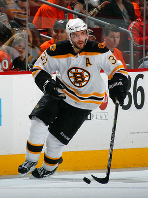 PHILADELPHIA, PA - MAY 02:  Patrice Bergeron #37 of the Boston Bruins skates during Game Two of the Eastern Conference Semifinals against the Philadelphia Flyers during the 2011 NHL Stanley Cup Playoffs at Wells Fargo Center on May 2, 2011 in Philadelphia
