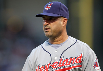 ARLINGTON, TX - JULY 05:  Manager Manny Acta #11 of the Cleveland Indians on July 5, 2010 at Rangers Ballpark in Arlington, Texas.  (Photo by Ronald Martinez/Getty Images)