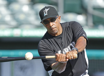 JUPITER, FL - MARCH 24: Manager Edwin Rodriguez #36 of the Florida Marlins hits the ball during fielding practice prior to the game against the Boston Red Sox at Roger Dean Stadium on March 24, 2011 in Jupiter, Florida. (Photo by Joel Auerbach/Getty Image
