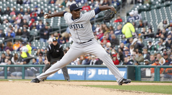 DETROIT - APRIL 28:  Michael Pineda #36 of the Seattle Mariners pitches in the fifth inning during the game against the Detroit Tigers at Comerica Park on April 28, 2011 in Detroit, Michigan. The Mariners defeated the tigers 7-2. (Photo by Leon Halip/Gett