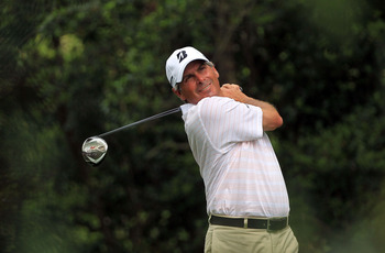 AUGUSTA, GA - APRIL 09:  Fred Couples watches his tee shot on the second hole during the third round of the 2011 Masters Tournament at Augusta National Golf Club on April 9, 2011 in Augusta, Georgia.  (Photo by David Cannon/Getty Images)